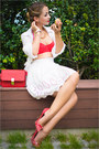 White-awwdore-skirt-white-awwdore-blouse-red-guess-heels