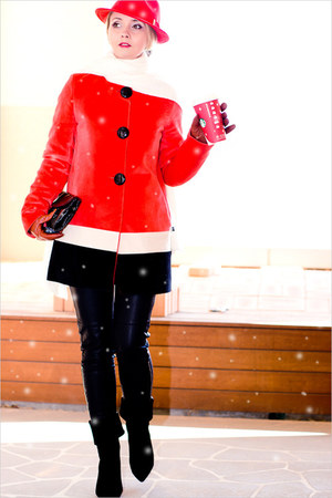 red Sheinside coat - red H&M hat - black romwe pants