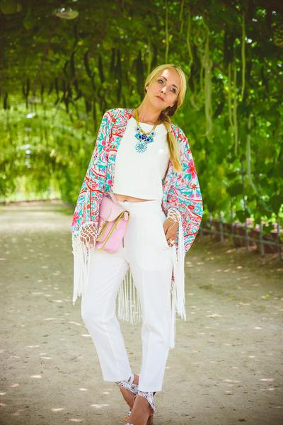 white Choies blazer - bubble gum PERSUNMALL bag - white Choies pants
