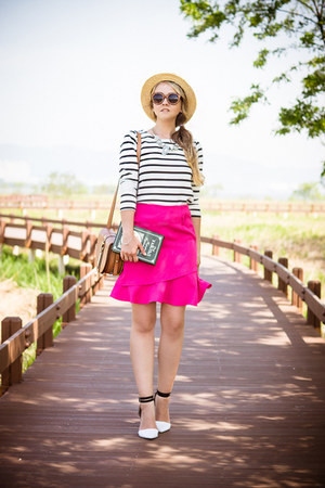 hot pink Sheinside skirt - nude Forever 21 hat - white Old Navy sweater
