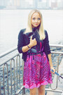 Black-zara-heels-purple-miss-nabi-dress-black-forever-21-cardigan