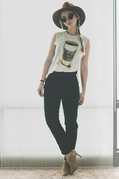 white Love Nail Tree top - dark brown zeroUV sunglasses - black Forever 21 pants