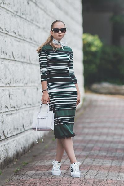 white Rebecca Minkoff bag - dark green ECI dress - white Adidas sneakers