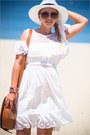 White-chicwish-dress-tawny-oasap-bag-tawny-celine-sunglasses