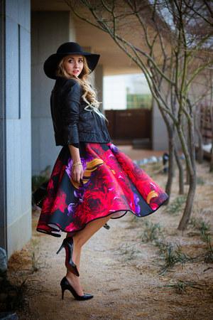ruby red Choies skirt - black OASAP hat - black Armani Exchange jacket