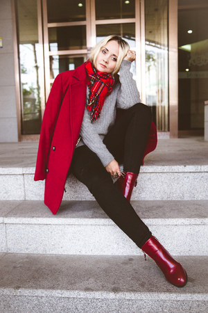ruby red OASAP boots - ruby red OASAP coat - black Tommy Hilfiger jeans