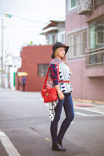 black OASAP boots - navy Tommy Hilfiger jeans - black Kate-Katy hat