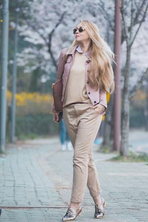 pink Choies jacket - pink Michael Kors bag - gold zeroUV sunglasses