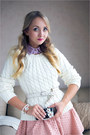 White-oasap-sweater-violet-stylish-plus-blouse-gold-onecklace-necklace