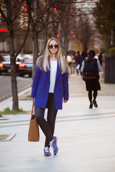 blue Sheinside coat - navy Tommy Hilfiger jeans - brown Michael Kors bag