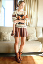 brown Miss Nabi skirt - brown sammydress boots - brown Sheinside sweater