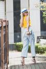 Light-blue-cambridge-satchel-bag-yellow-romwe-top
