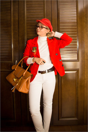 red Forever 21 jacket - burnt orange romwe bag - burnt orange firmoo glasses