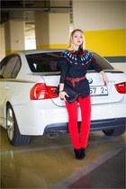 black romwe blouse - red Forever 21 jeans - black Forever 21 bag