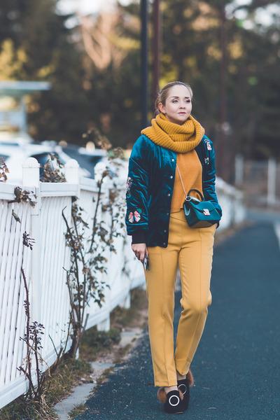 mustard Choies scarf - teal romwe jacket - mustard versace pants