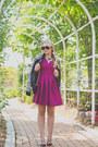 Maroon-chicwish-dress-black-chicwish-jacket-black-rebecca-minkoff-bag