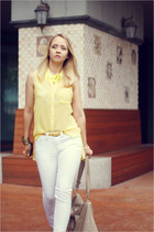 yellow Forever 21 necklace - white Maro Catte jeans - neutral asos heels