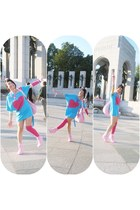 bubble gum boots - sky blue dress - bubble gum bag - hot pink socks