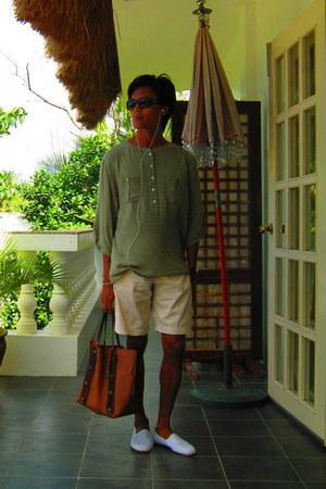 tawny italian leather rabeanco bag - beige no brand shorts