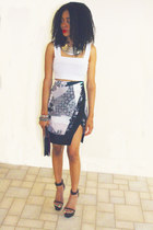 asos crop top top - Topshop Patchwork Skirt skirt - Jeffrey Campbell Day 2 heels