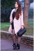 black leather Zara boots - bubble gum cotton Front Row Shop coat
