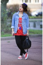 sky blue denim jacket asos jacket - black leather Alexander Wang bag