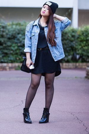 sky blue denim asos jacket - black leather Zara boots - black cotton Zara dress