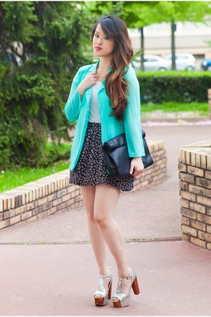 aquamarine Choies blazer - black Zara bag - white H&amp;M t-shirt