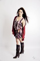 camel H&M dress - dark brown italian boots - brick red H&M cardigan