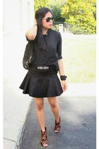 black bcbg max azria blouse - black Express skirt - black The Limited belt
