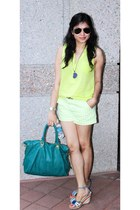 lime green Old Navy shirt - teal Steve Madden bag - lime green Gap shorts