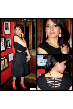 black Express skirt - black Express blouse - salmon Forever21 earrings