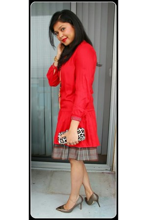 red H&M dress - brown banana republic skirt - dark brown heels