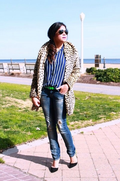 blue mint stripes Forever 21 top - neutral asos coat - navy Zara jeans
