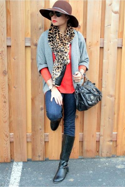 carrot orange JCP blouse - light blue Macys jacket - nude Forever 21 scarf