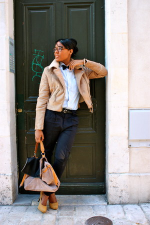 aviator jacket asos jacket - vintage daniel hechter shirt - leather bag asos bag