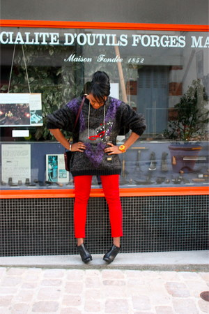 deep purple old school Casual Land sweater - red Zara pants - red lenses necklac