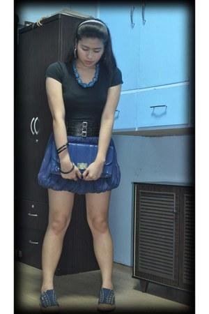 navy Hush Puppies shoes - navy Bazaar skirt - blue Dorothy Perkins - black Bossi