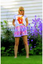 white thrift shirt - purple thrift shorts