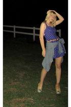 purple thrift dress - blue Heritage blouse