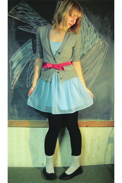 blue Rodarte for Target dress - red Vinatge belt - gray Gap cardigan