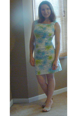 turquoise blue dress - white shoes