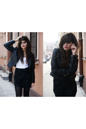 black H&M tights - black H&M jacket - some plain one t-shirt - property of model
