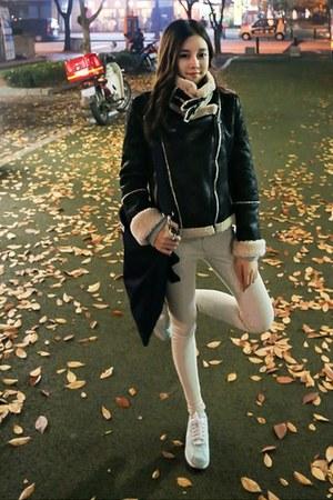 black yubsshop jacket - yubsshop bag - cream yubsshop pants