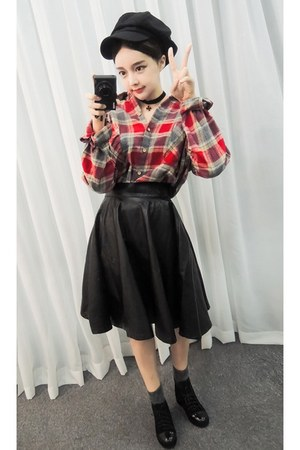 yubsshop skirt - yubsshop boots - newsboy hat yubsshop hat