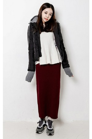 black yubsshop jacket - ivory yubsshop sweater - crimson yubsshop skirt