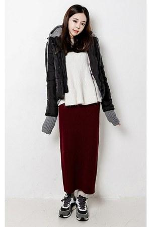 black yubsshop jacket - ivory yubsshop sweater - crimson yubsshop skirt