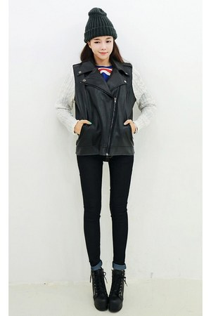 blue yubsshop jacket - black yubsshop boots - ivory yubsshop jeans