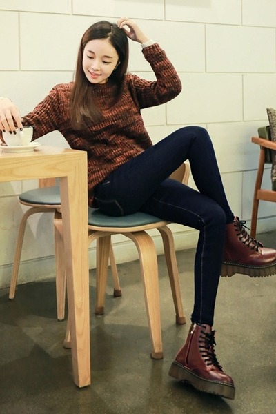 burnt orange yubsshop shirt - tawny yubsshop boots - navy yubsshop jeans