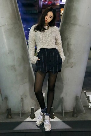 off white yubsshop sweater - yubsshop tights - black yubsshop shorts